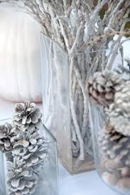 Winter Deko Ideen Zweige Tannenzapfen Schnee Weiss Vasen