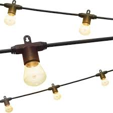 Home Depot Cafe Lights Lights By Night 48 Ft Black Bistro Integrated Led String Light