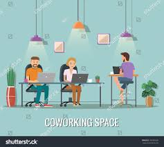 the creative office. Vector Illustration Of Coworking Space. Working Place, Office. People In The Creative Office D