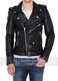 mens faux leather with shoulder epaulets biker style leather jacket front view