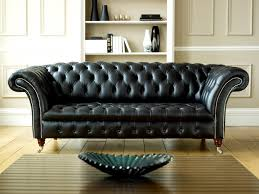... 2012 Black Leather Chesterfield Sofa