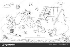 Kinderen Op De Speelplaats Kleurplaten Van Vector Stockvector