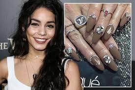 vanessa hudgens gets sworovsky crystal nails for coaca