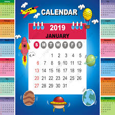 August Theme Calendar Calendar 2019 Set Desk Calendar Template With Aero Space