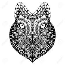 Zentangle には狼の顔が様式化されました手描き落書きのベクトル イラスト高はタトゥーや Makhenda