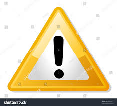 exclamation mark in yellow triangle shaped warning road sign isolated on white background