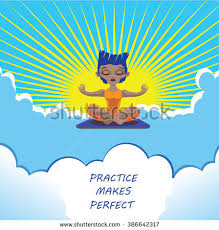practice makes perfect stock images royalty images vectors  practice makes perfect typo motivational poster illustration man meditating on sky cute