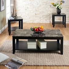 logan coffee table set 3 piece faux marble top and wooden frame table set with coffee
