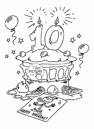 Small Picture Happy 10th Birthday coloring page for kids holiday coloring pages