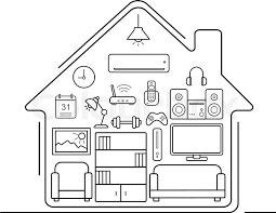 house interior outline. modern smart home thin line art icons interior with electronics and furniture illustration living room outline concept house h