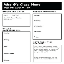 Free Editable Teacher Newsletter Template By Weekly
