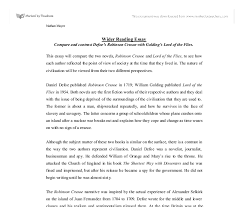 compare and contrast defoe s robinson crusoe golding s lord document image preview