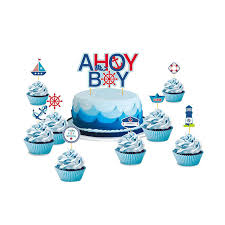 Set Of 9 Ahoy Boy Nautical Theme First Birthday Party Baby Boy Cake