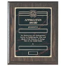 Vfw Store Appreciation Award Plaque Red Garnetine