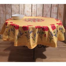 round tablecloth cotton yellow poppies 70 inches