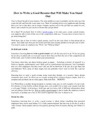 How To Do A Good Resume Free Resume Example And Writing Download