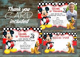 mickey mouse party invitation mickey mouse birthday invitation free thank you card