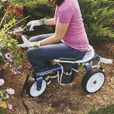 rolling garden scooter with adjustable swivel seat