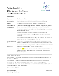 Best Bookkeeper Position Description Details Of Job Recruitment