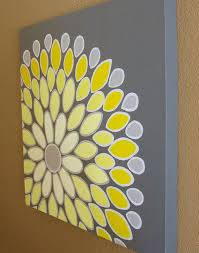 wall art yellow and grey abstract flower 20x20 by murraydesign