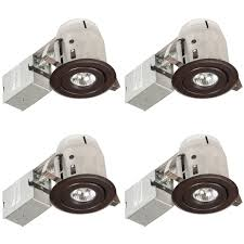 com globe electric 3 swivel spotlight recessed lighting kit 4 pack ic rated with led bulb easy install push n clips dimmable downlight