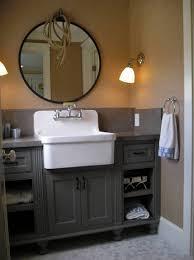 Furniture , Classic Antique Bathroom Vanity : Antique Bathroom Vanity With  Farmhouse Style Sink And Round