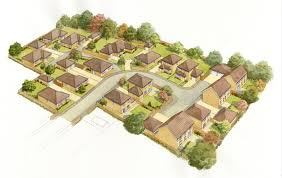 aerial small housing development