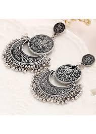 black metal jewellery. Exellent Metal Round Shape Flower Curved Black Metal Earrings In Jewellery M