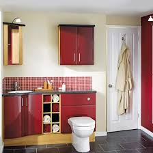 fitted bathroom furniture ideas. fitted bathroom with red cupboard ad grey tiled floor furniture ideas t