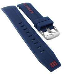 Tommy Hilfiger Ersatzband Uhrenarmband Silikon Band Blau Spezial Anstoß 1791142