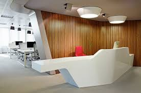 office contemporary design. View In Gallery Wall Paneling Adds Cool Contrast To The Space Office Contemporary Design A