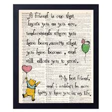 Akeke Classic Winnie The Pooh Best Friend Friendship Quote Vintage Book Art Prints Best Friend Birthday Gift 8x10 Unframed Art Poster If There