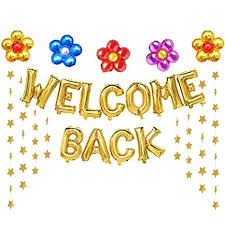 Welcome Back Graphics Welcome Back Balloons Gold Welcome Back Banner Back To School Party Supplies With Flower Balloons Star Banners First Day Of School Classroom Wedding