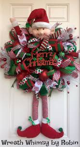 XL Deco Mesh Christmas Elf Wreath in Emerald Green & Red, Holiday Wreath,  Whimsical