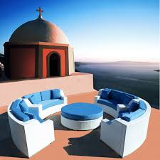 Round Outdoor Wicker Sectional Sofa Patio Furniture Set Modern