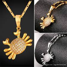 whole u7 new cubic zirconia cute crab pendant necklace gold platinum plated link chain for women animal jewelry perfect gift p2482 mens gold chains