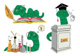 book worm cartoon doodle vector ilration