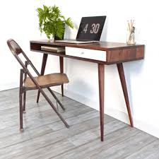 grey composite floor for modern home office with small writing desk design and chic chair