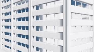 exterior office. Close Up Shot Of Exterior Wall Abstract White High Rise Office Building With Reflection On Mirror Windows. Architectural Background. M