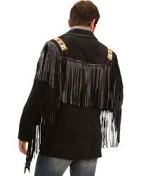 scully black bone beaded fringe leather jacket black hi res