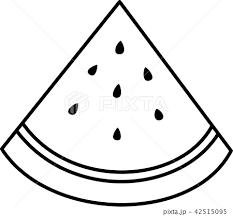 すいか 白黒線画ぬり絵のイラスト素材 42515095 Pixta