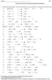 balancing chemical equations worksheet with answers