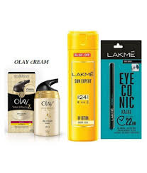 olay imported cream 50g lakme sun expert spf 24 pa uv lotion with lakme eyeconuc kajal makeup kit gm olay imported cream 50g lakme sun expert