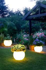 luxury garden ideas with bowl flower vase style yard solar lights white shades design