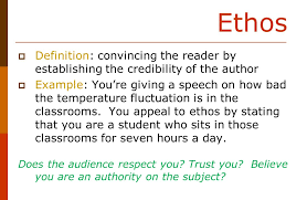 today in english review the art of persuasion apply content to ethos iuml129deg definition convincing the reader by establishing the credibility of the author iuml129deg example