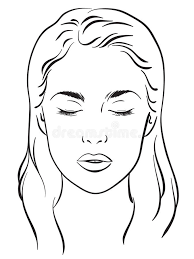 beautiful woman with closed eyes face chart makeup artist blank template vector stock