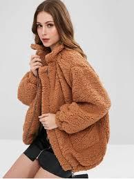 slip pockets faux fur teddy coat light brown s