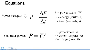 electrical power pg objectives use the equation for  3 equations power chapter 9 electrical power