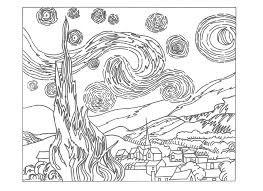 Small Picture Starry Night Coloring Page Throughout glumme
