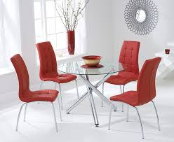 mark harris odessa glass round dining set with 2 california red chairs 100cm